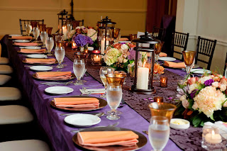 Peach and purple colour scheme