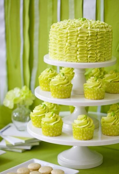 Ruffle cake and cupcakes