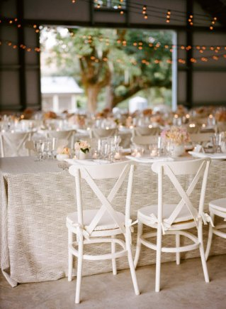 Rustic-style reception in blush and ivory