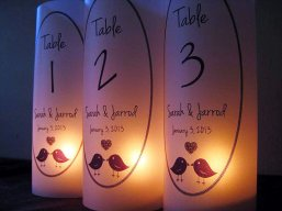 Table number luminaries, by SaidInStoneOnline on etsy.com
