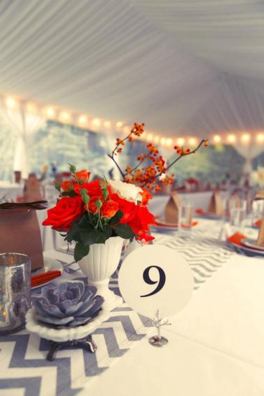 Table setting in grey and orange
