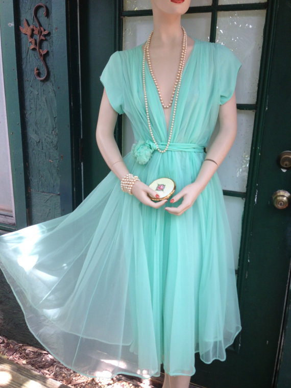 Vintage turquoise dress b11e1fde5