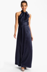 Amsale Tie Neck Satin A-Line Gown, from nordstrom.com