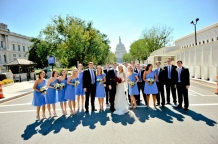 Bridal party in cornflower blue