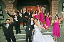 Bridal party in fuchsia and green colours