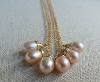 Bridesmaid necklaces, by OtisBWeddings on etsy.com
