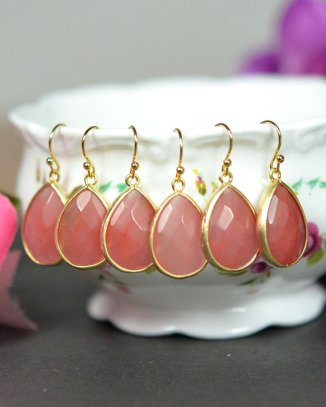 Coral earrings, by thefabwedding2 on etsy.com