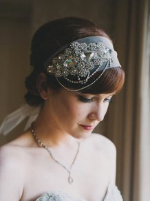 Crystal Headband Veil Head Wrap, by GuildedShadows on etsy.com