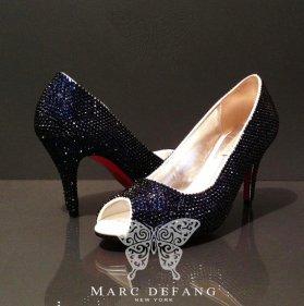 Crystal peep-toe heels, by MDNY on etsy.com
