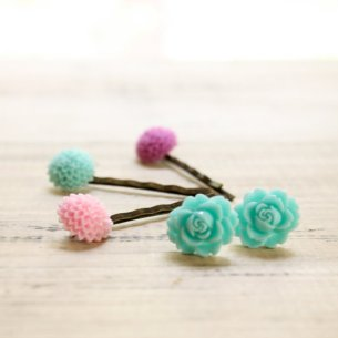 Earrings and hairpin set, by somedaysoonjewelry on etsy.com