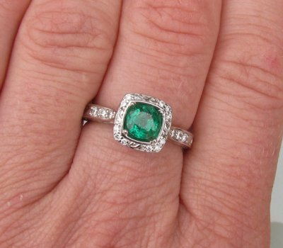 Emerald and white gold ring, by PristineJewelry on etsy.com