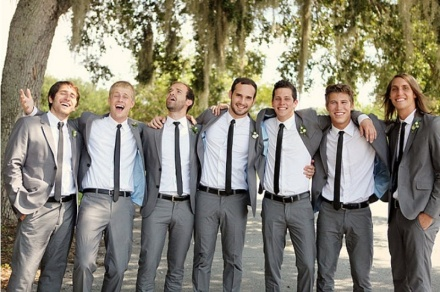 Grey suits and skinny black ties