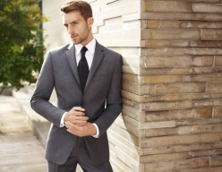 Classic grey suit and black tie