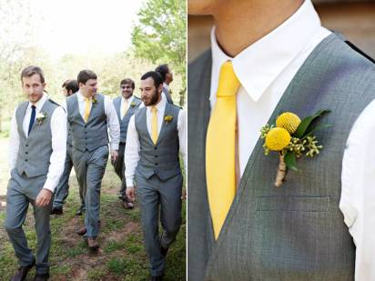 Grey vests and yellow ties