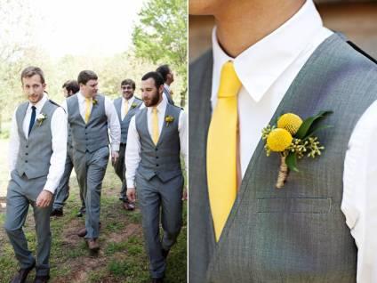 Grey vests and yellow ties
