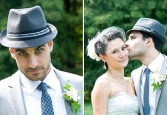 Groom with fedora hat