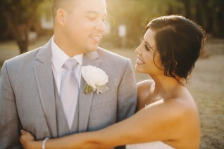 Groom with light grey suit and tie