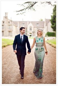 Jenny Packham emerald wedding gown