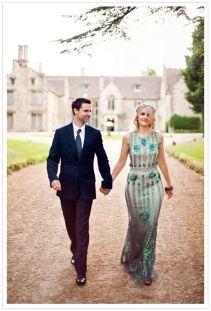 Jenny Packham emerald wedding gown