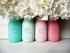 Mason jars for centrepieces, by BeachBlues on etsy.com