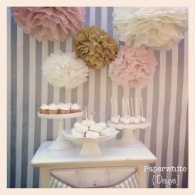 Paper pompoms, by PaperwhiteDesigns on etsy.com