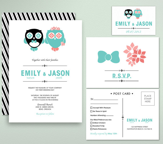 Printable invitation by fromlucywithlovewed on etsycom for Etsy owl wedding invitations