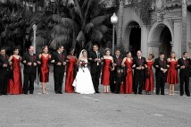 Red and white bridal party