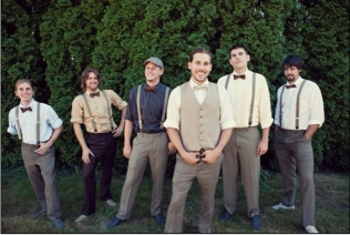 Rustic attire for groom and groomsmen