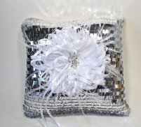 Sequin ring pillow, by CeremonyDeluxe on etsy.com
