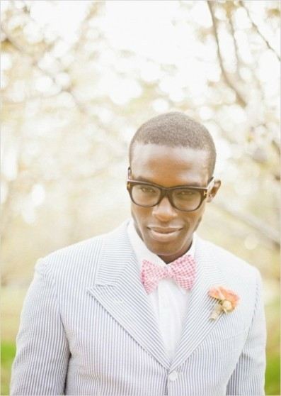 Striped suit and bow tie