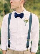 Suspenders and velvet bow-tie