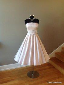 Tea-length blush wedding dress, by FrenchKnotCouture on etsy.com