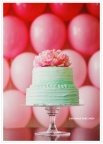 Wedding cake in aqua and pink
