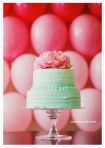 Wedding cake in aqua and pink