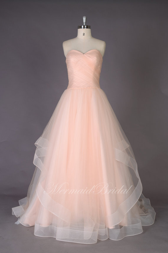 Blush and gold wedding inspiration the merry bride for Wedding dress on etsy