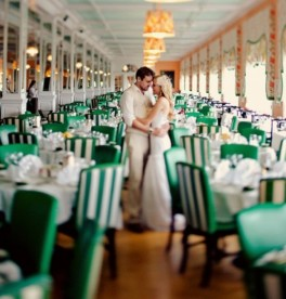 Wedding reception in emerald and white