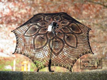 Black crochet umbrella, by kolus79 on etsy.com