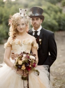 Bride and groom in Steampunk-themed attire {via ruffledblog.com}