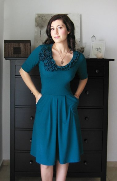 Bridesmaid dress in dark teal, by Lirola on etsy.com