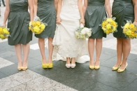 Bridesmaids in grey with yellow heels and bouquets {via elizabethannedesigns.com}