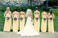 Bridesmaids in lemon dresses