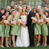 Bridesmaids in sage with pink bouquets {via theknot.com}