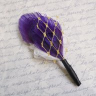 Feather boutonniere, by TheHeadbandShoppe on etsy.com