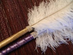 Guest book feather pens, by FEATHERSnPEARLS on etsy.com
