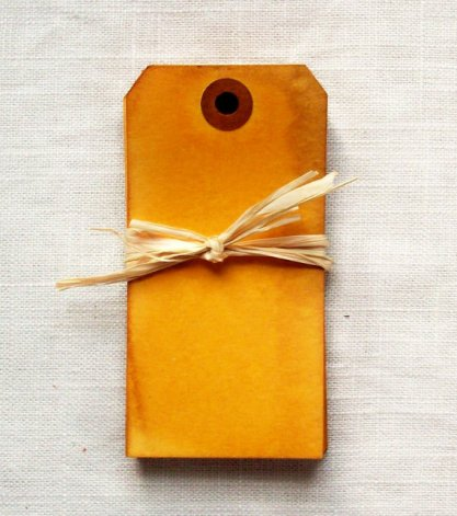 Hand-dyed vintage-look gift tags, by suupaa on etsy.com
