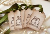 Lovebird gift tags, by amaretto on etsy.com