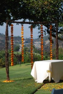 Marigolds strung up in the ceremony area