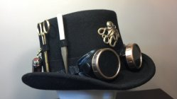 Men's steampunk top hat, by FancifulFabrications on etsy.com