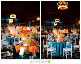 Orange and teal reception. Love the crown-style lights! Via theyoungrens.com