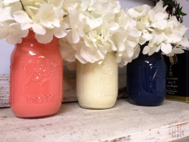 Painted mason jars, by SamanthaBugglin on etsy.com